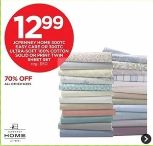 JCPenney Home 300TC Easy Care Or Ultra Soft 100% Cotton Solid Or Print Twin Sheet Sets