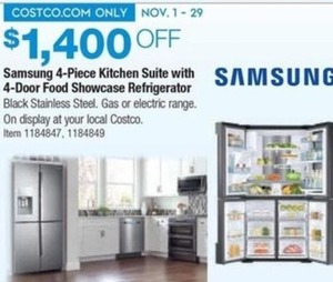Samsung 4-piece GAS 28CuFt 4-Door Food Showcase Kitchen Suite in Black Stainless Steel