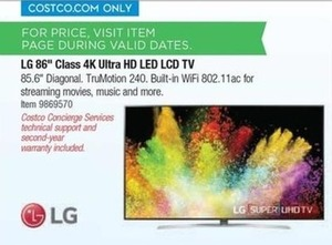 "LG 86"" Class 4K Ultra HD LED LCD TV"