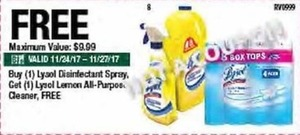 Lysol Lemon All-Purpose Cleaner w/ Purchase of Lysol Disinfectant Spray