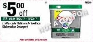 Cascade Platinum ActionPacs Dishwater Detergent