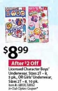 Licensed Character Boys' or Girls' Underwear