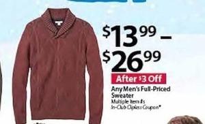 Any Men's Full Priced Sweater
