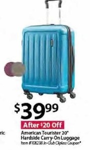 "American Tourister 20"" Hardside Carry-On Luggage"