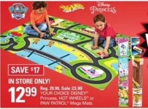 Disney Princess, Hot Wheels or Paw Patrol Mega Mats