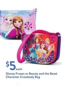Disney Frozen Or Beauty And The Beast Character Crossbody Bag
