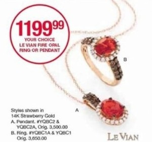 Le Vian Fire Opal Ring or Pendant