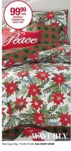 Waverly Poinsettia Quilt Set, Twin