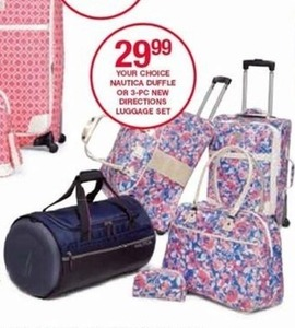 Nautica Duffle or 3-pc New Directions Luggage Set