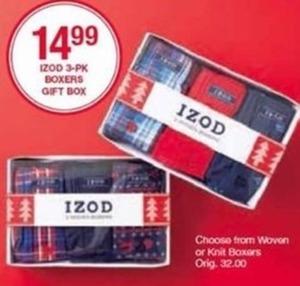 IZOD 3-pk Boxers Gift Box