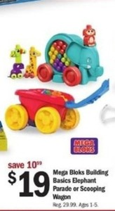 Mega Bloks Building Basics Elephant Parade or Scooping Wagon