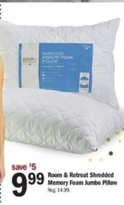 Room & Retreat Shredded Memory Foam Jumbo Pillow