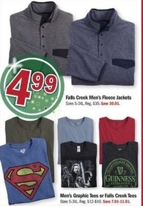Falls Creek Men's Fleece Jackets and Men's Graphic Tees or Falls Creek Tees