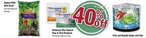 Kaytee Wild Bird Seed, PetArmor Plus Topical Flea and Tick Products, and Fish and Reptile Tanks/Kits