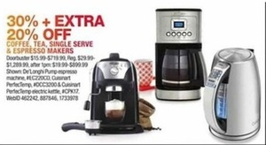 Coffee Tea, Single Serve, & Espresso Makers