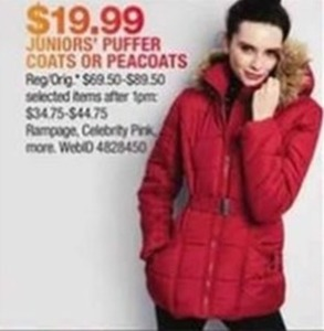 Juniors Puffer Coats & Peacoats