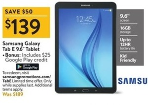 "Samsung Galaxy Tab E 9.6"" Tablet + $25 Google Play"