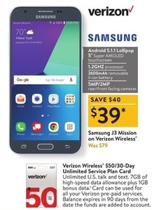 Samsung J3 Mission on Verizon Wireless
