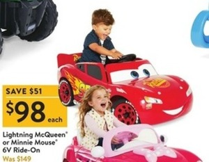 Lightning McQueen or Minnie Mouse 6V Ride-On