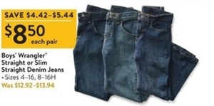 Boys' Wrangler Straight or Slim Straight Denim Jeans