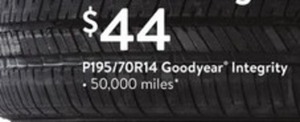 Goodyear Integrity Tires P195/70R14, 50,000 Miles