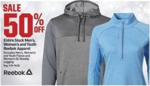 Entire Stock Men's Women's and Youth Reebok Apparel