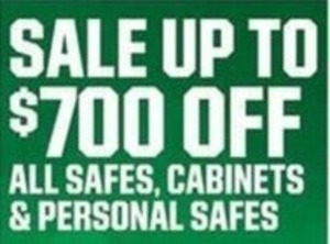Up to $700 off All Safes, Cabinets and Personal Safes