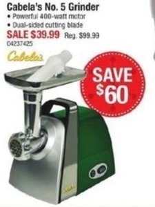 Cabala's No. 5 Grinder with 400-watt Motor and Dual-Sided Cutting Blade