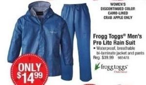 Frogg Toggs Men's Pro Lite Rain Suit