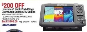 Lawrence Hook-7 Mid/High DownScan Sonar GPS Combo