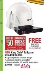 King Dish Tailgater VQ4450 Bundle + $50 In Cabela's Bucks