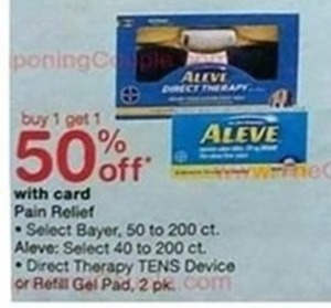 Select Bayer, Aleve, Direct Therapy TENS Device or Refill Ged Pad