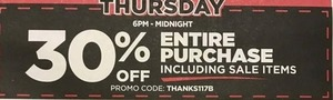 Entire Purchase w/ Coupon (Thursday)