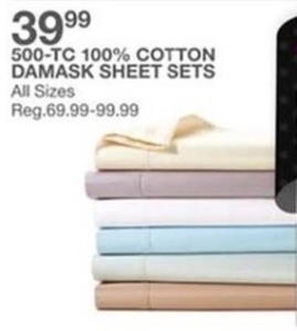 500-TC 100% Cotton Damask Sheet Sets