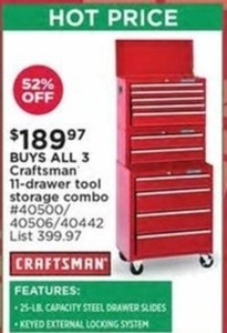 Craftsman 11 Drawer Tool Storage Combo