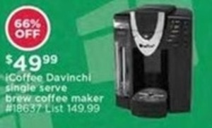 iCoffee Davinchi Single Serve Brew Coffee Maker