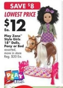 "Play Zone Style Girls 18"" Dolls, Pony, or Bed"