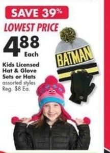 Kids Licensed Hat & Glove Sets or Hats