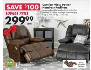 Comfort View Power Headrest Recliners