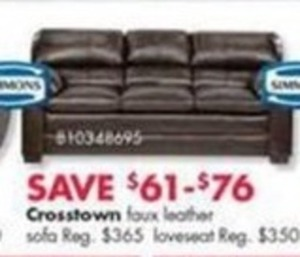 Crosstown Faux Leather Sofa