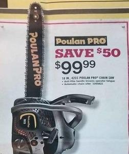 """Poulan Pro 18"""" 42CC Chain Saw"""