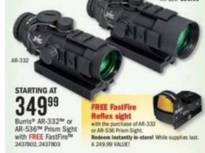 Burris AR-332 or AR 536 Prism Sight w Free Fastfire