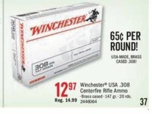 Winchester USA .308 Centerfire Rifle Ammo