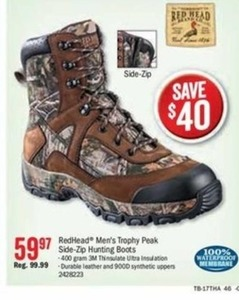 RedHead Men's Trophy Peak Side-Zip Hunting Boots