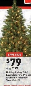 "Holiday Living 7.5"" Lawndale Pine Pre-Lit Tree"