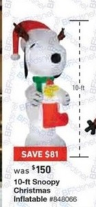 10-ft Snoopy Christmas Inflatable