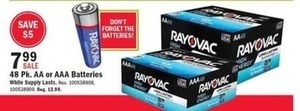 Rayovac 48 pack AA or AAA Batteries