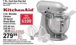 KitchenAid 5Qt 10-Speed Stand Mixer After Rebate