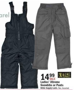 Ladies' iXtreme Snowbibs or Pants