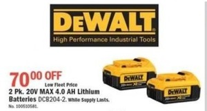 DeWalt Lithium Batteries - 2 Pack